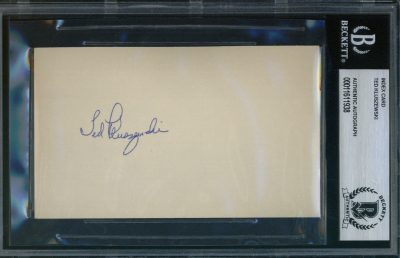 Ted Kluszewski Autographed Index Card BAS Authenticated