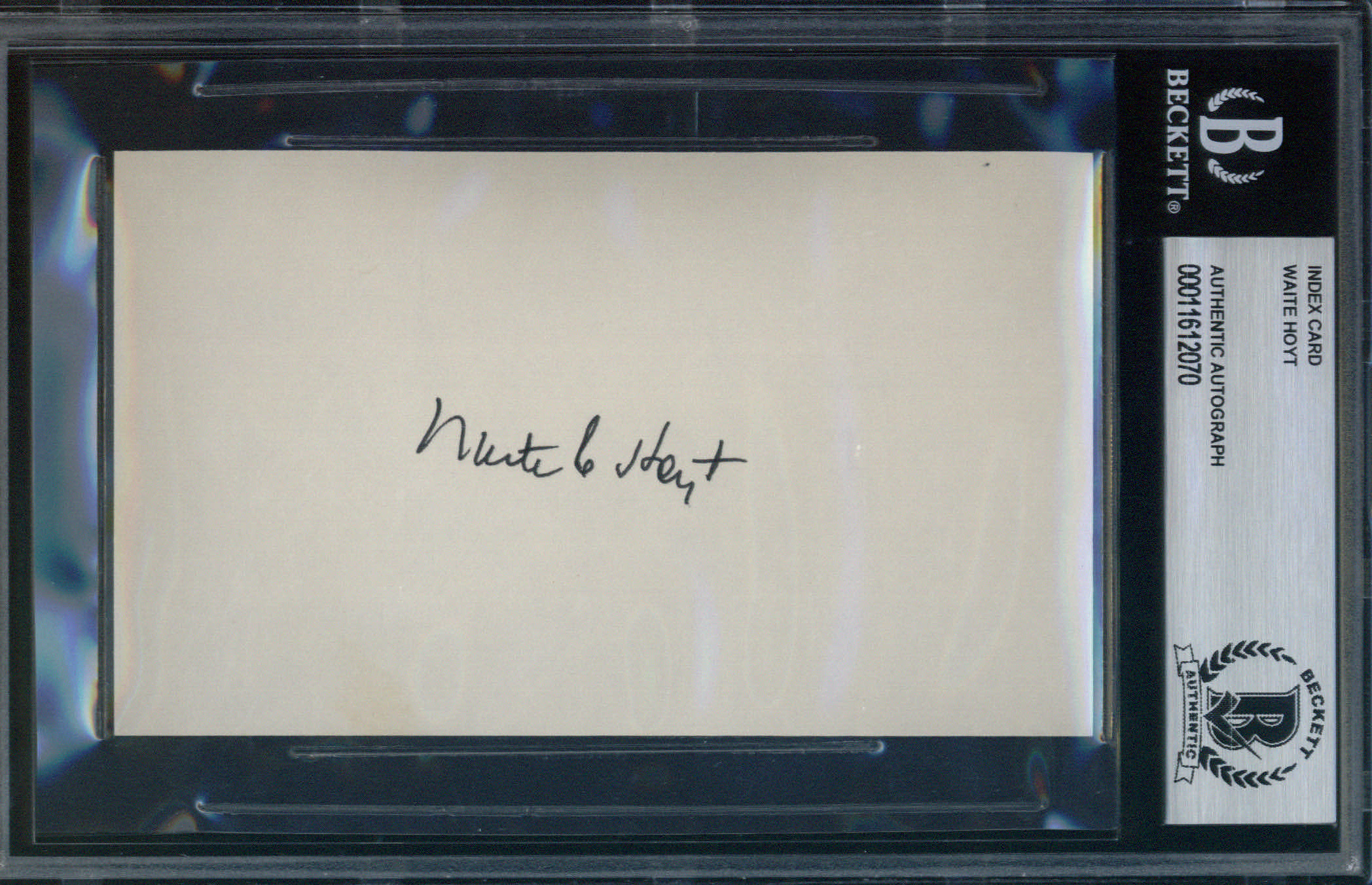 Waite Hoyt Autographed Index Card BAS Authenticated