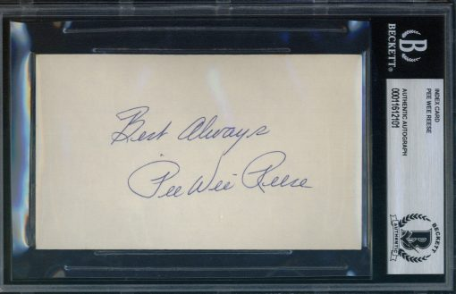 """Pee Wee Reese Autographed Index Card with """"Best Always"""" inscription BAS Authenticated"""