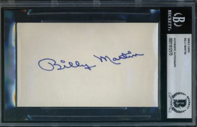 Billy Martin Autographed Index Card BAS Authenticated