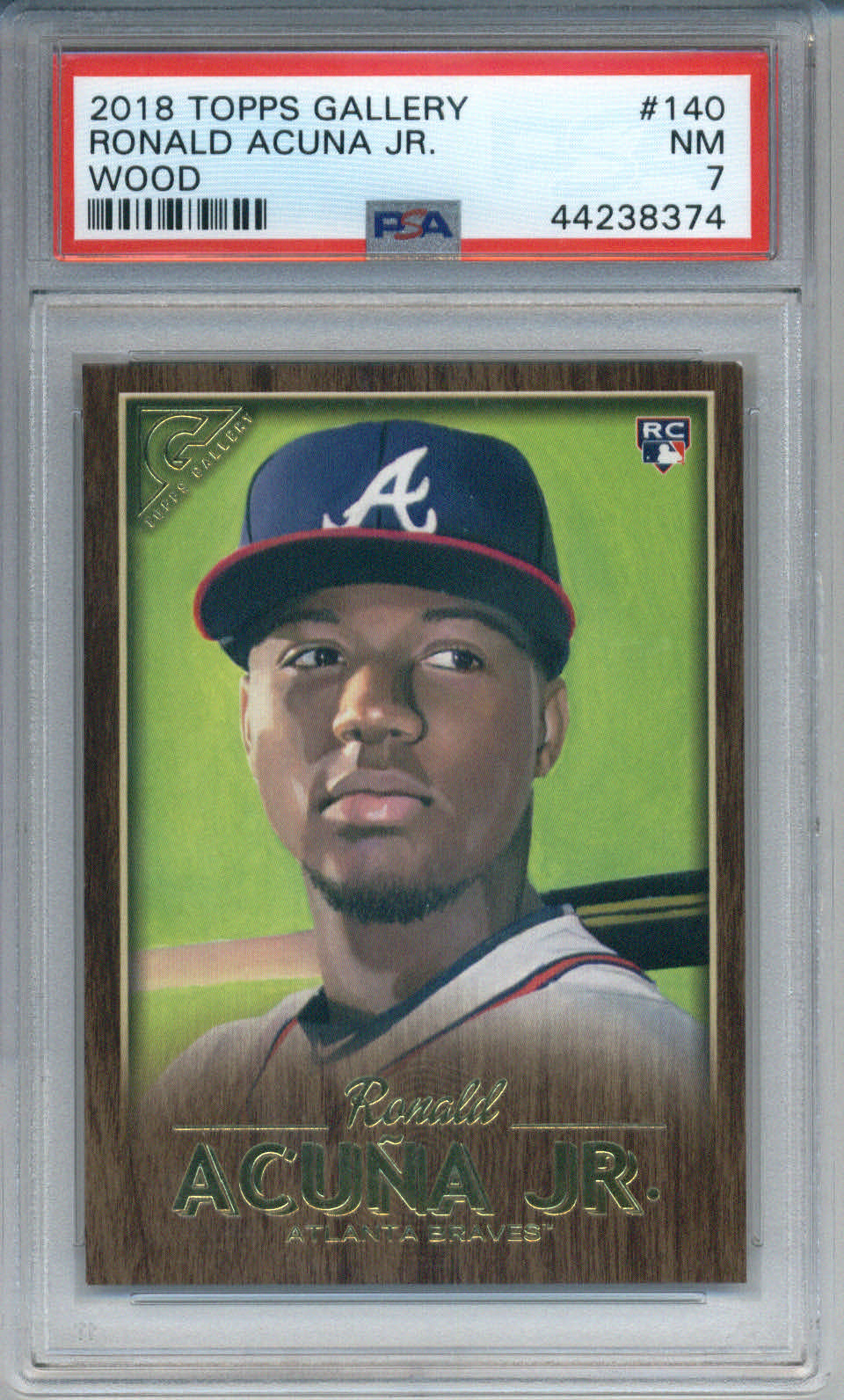 2018 Topps Gallery Wood #140 Ronald Acuna Jr. PSA 7