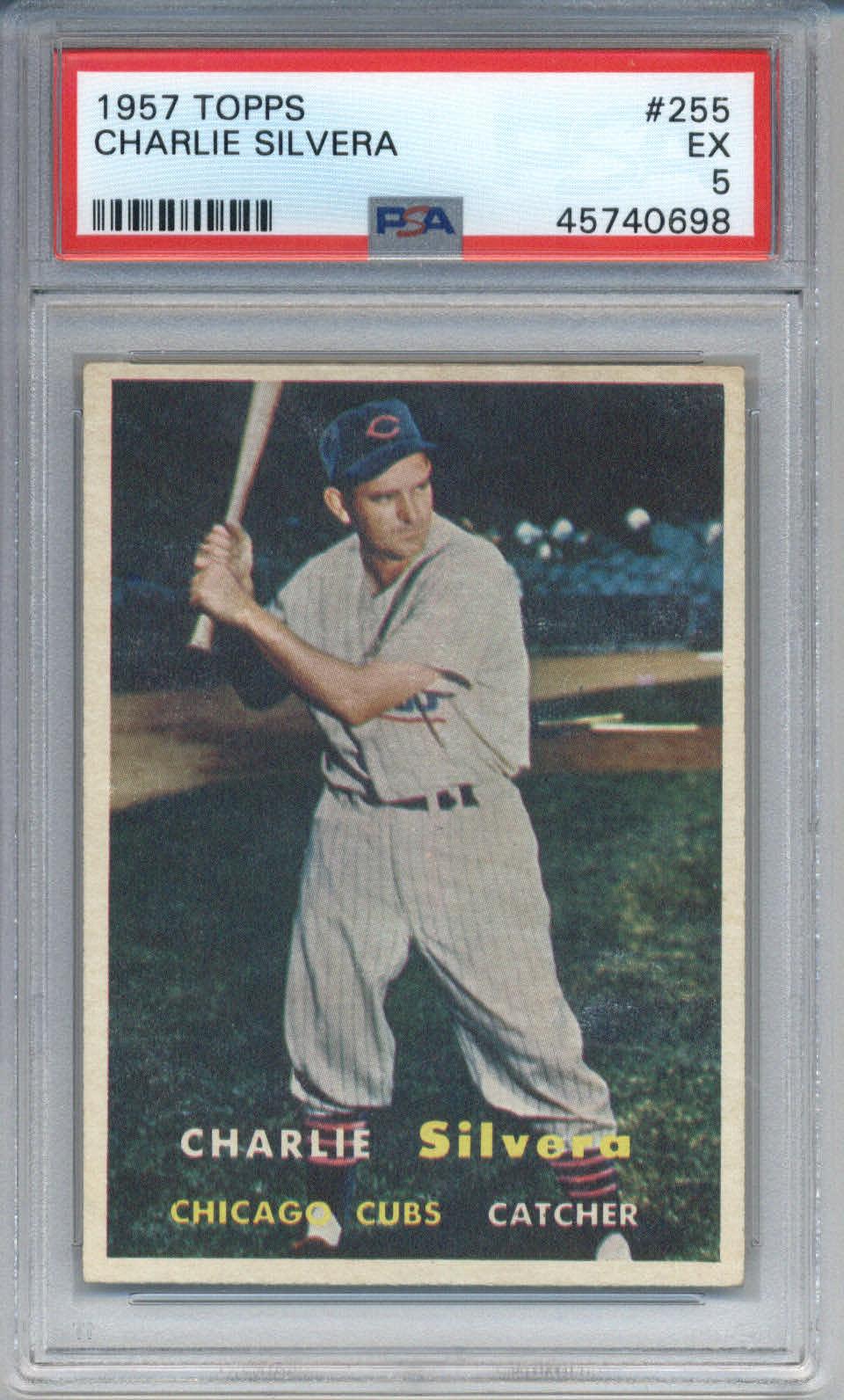 1957 Topps #255 Charlie Silvera PSA 5
