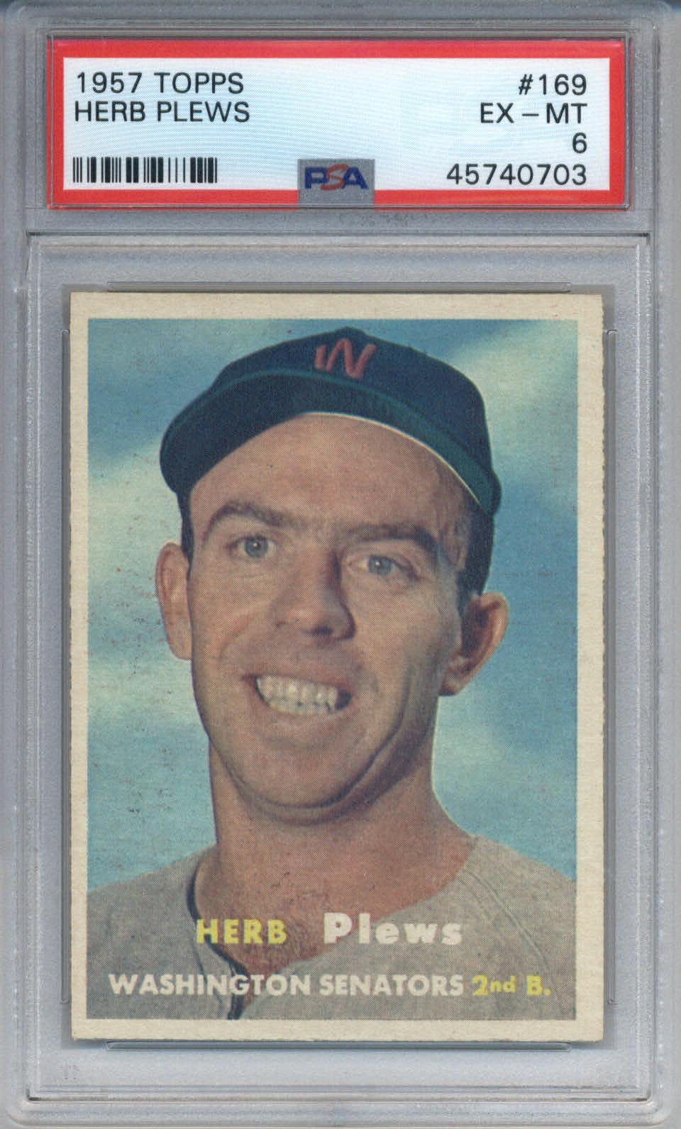 1957 Topps #169 Herb Plews PSA 6