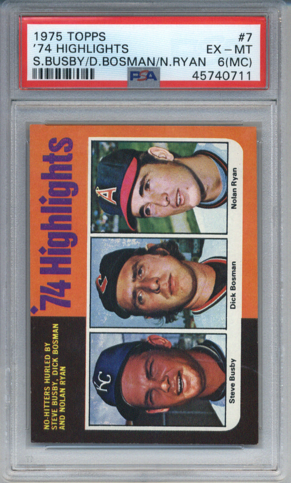 1975 Topps '74 Highlights #7 Busby/Bosman/Ryan PSA 6(MC)