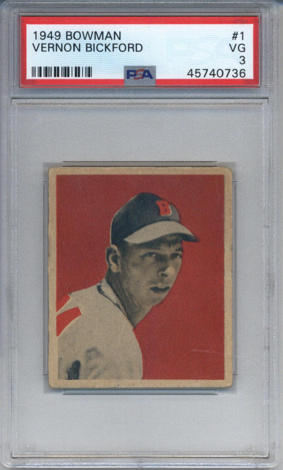 1949 Bowman #1 Vernon Bickford PSA3