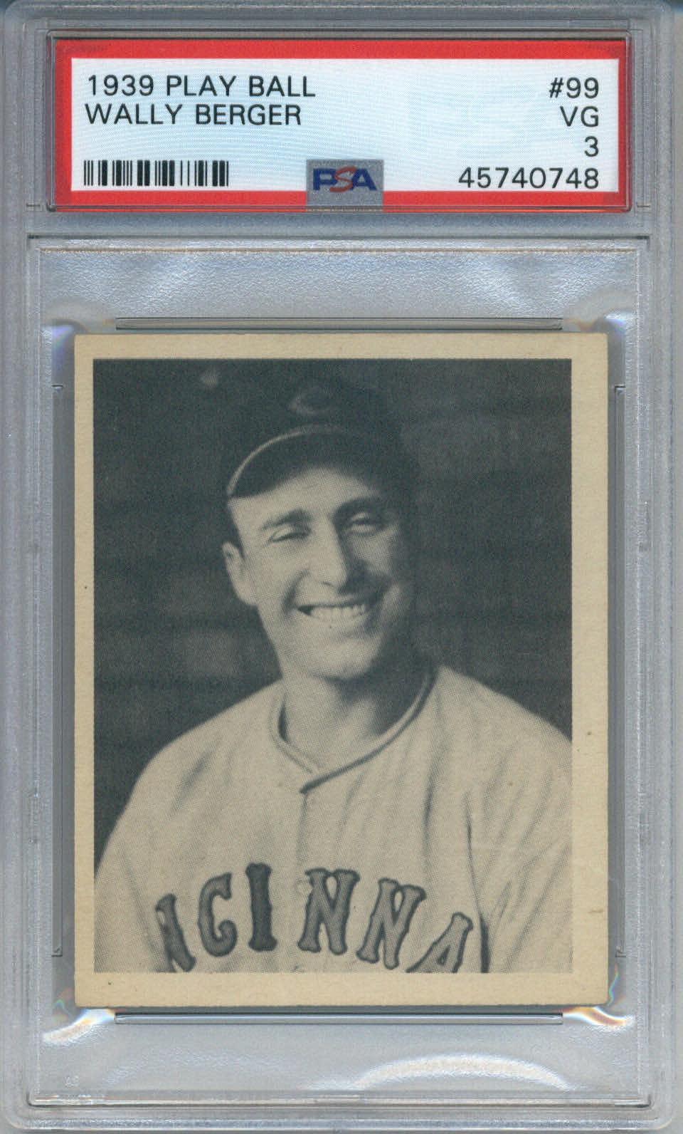 1939 Play Ball #99 Wally Berger PSA 3