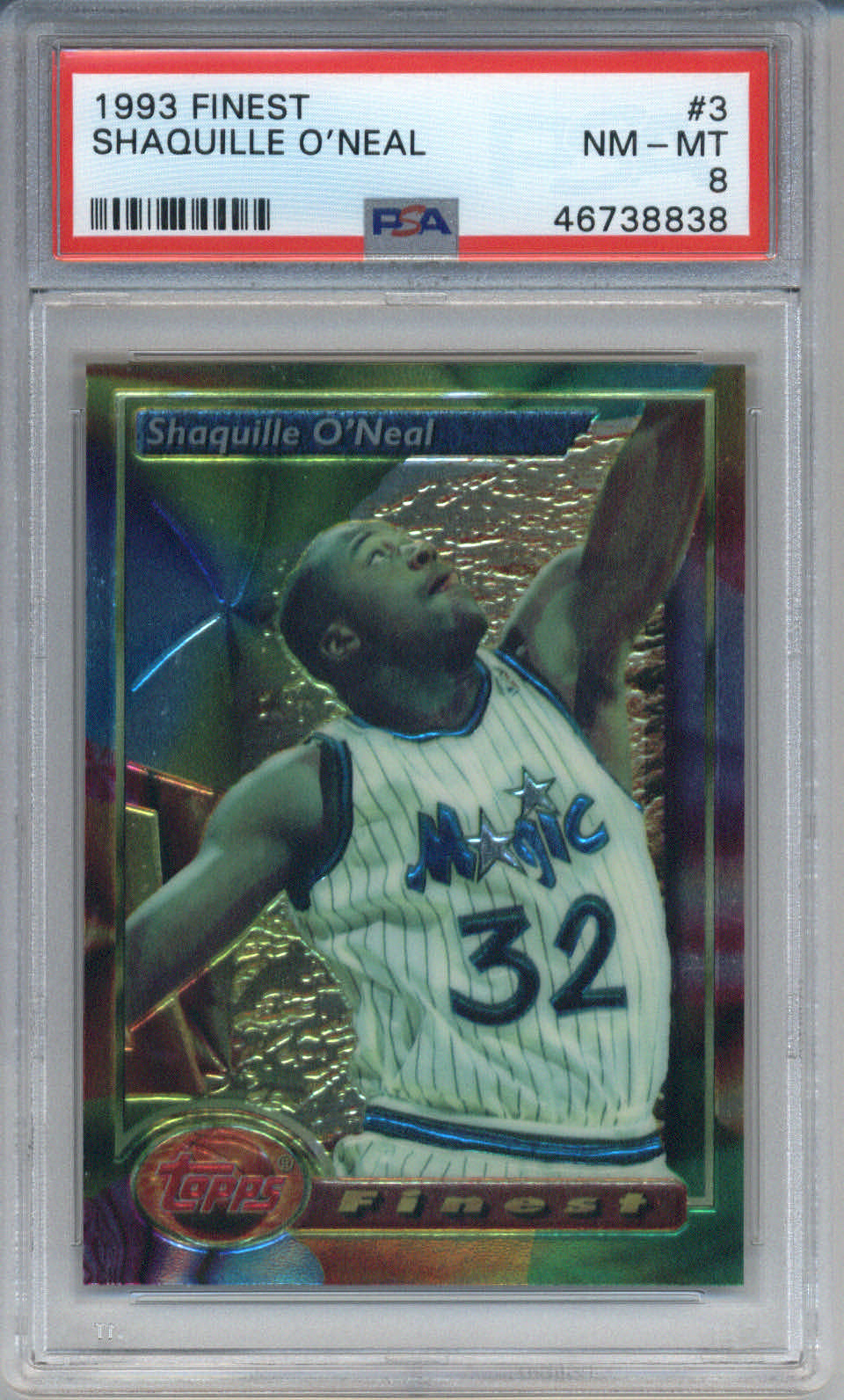 1993 Finest #3 Shaquille O'Neal PSA 8