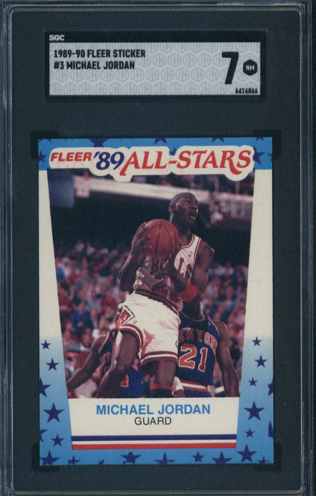 1989 Fleer Sticker #3 Michael Jordan SGC 7